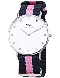 Daniel Wellington Damen-Armbanduhr XS Classy Winchester LADY SILVER Analog Quarz Nylon DW00100081, weiß (silber,blau/rosa)