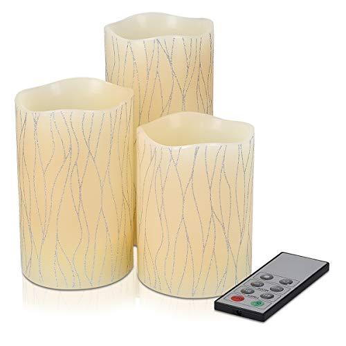Navaris Pack de 3 velas de cera auténtica LED - Velas LED...