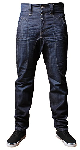 Herren EMP PAVIA Drop Gabelung Karotte fit stonewashed Jeans Dunkle Wasche (Stonewashed Dunkle Jeans)