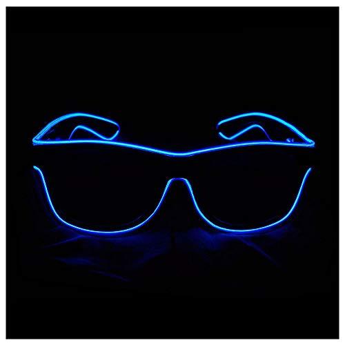 LMM LED-Sonnenbrillen, wiederaufladbare Neonlampen für die Weihnachtsfeier Adult Club Dance Performance Bar Konzert Halloween Kinder,Blue (Last-minute-adult Halloween-kostüme Einfache)