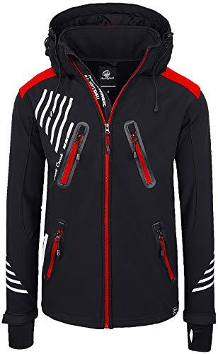 Rock Creek Herren Softshell Jacke Outdoorjacke Windbreaker Übergangs Jacke H-140 [Schwarz Rot Zip 4XL] Schwarz Rot Jacke