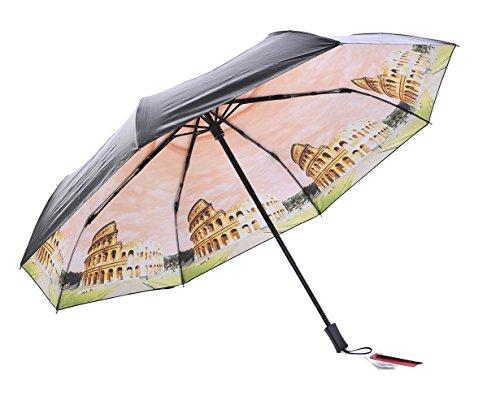 Honeystore Taschenschirm Triple Falten Reisen Schirm Ölgemälde Druck Kompakt Sonne Sonnnenschirm Gebäude Orange