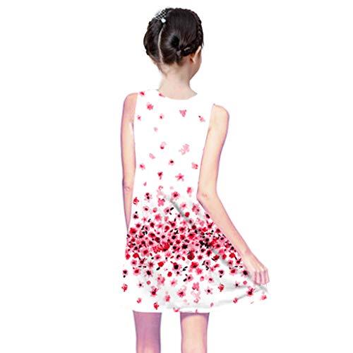 Viahwyt Baumwolle Kleid mädchen Ärmellos Lässig Kleider Kinder Baby Sommer Druck Partykleid Strandkleid 3D Shirtkleid(Rosa,140)