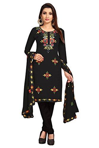 Sretan Women's Chanderi Cotton Un Stitched Dress Material ( Embroidered Black Color...