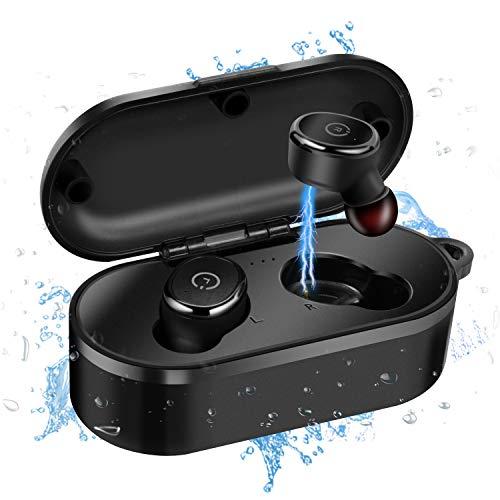 MixMart Bluetooth Kopfhörer Kabellos,Mini Bluetooth 5.0 Sportkopfhörer in Ear IPX8 Wasserdicht mit tragbarer Ladestation und Mikrofon Headset für iPhone Samsung Huawei