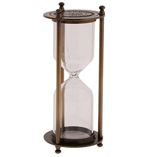 Blesiya Retro Metal Frame Empty Reloj De Arena Sandglass Sand Timer Home Decor - Bronce, Tamaño (DxH): 7 x 16 cm