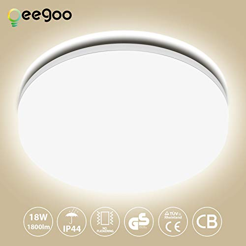 Oeegoo Deckenlampe Badezimmer 18W Neutralweiß LED Deckenleuchte IP44 Wasserfest Badezimmerlampe 1550lm Deckenlampe für Badezimmer Wohnzimmer Flur Küche Schlafzimmer Balkon Korridor Büro usw.
