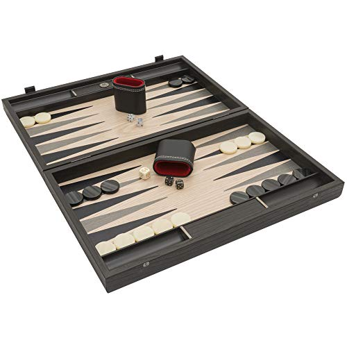 Manopoulos The Grey Oak and Platinum Luxury Backgammon-Set mit Philos Deluxe Tassen