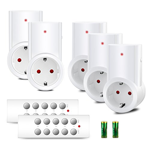 benon B2112 Funksteckdosen-Set mit Fernbedienungen, 5er Set, 2300W für Licht & Haushaltsgeräte, bis 50m Reichweite