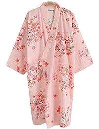 AXIANQI Primavera Verano Y Otoño Damas Kimono Camisón Japonés Flor De Cerezo Algodón Gasa Batas De