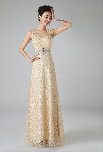 Drasawee Damen Empire Kleid Champange
