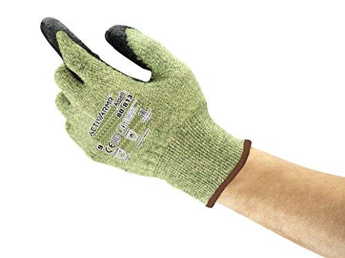 Ansell ActivAmr 80-813 Hitzebeständige Handschuhe mit Kevlar-Faser, Mechanik-Handschuh mit hohem Schnitt-Schutz Grün Schwarz Größe 11 (12 Paar) -