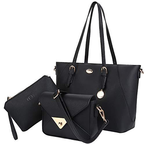 oofit Handtasche Leder Tasche Set mit Crossbody Tasche Umhängetasche Damen Henkeltaschen Handgelenktasche (Coofit Schwarz) ()