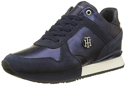 Tommy Hilfiger Damen CAMO METALLIC Wedge Sneaker Blau (Tommy Navy 406) 41 EU
