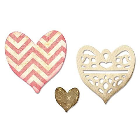 Sizzix Thinlits Die Set Medallion, Layering Heart by Scrappy Cat, Pack of 4, Multi-Colour