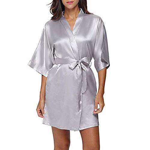 TEBAISE Damen Morgenmantel Kimono Satin Kurz Robe Bademantel Nachtwäsche Sleepwear V Ausschnitt Sommerkleid mit Gürtel Dem Satinstoff für Brautjunfer Hochzeit Karneval Fasching Fasnacht