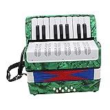 SM SunniMix Kinder Akkordeon mit 17 Tatsen Ziehharmonika Musikinstrument Spielzeug inkl. Aufbewahrungstasche - Grün