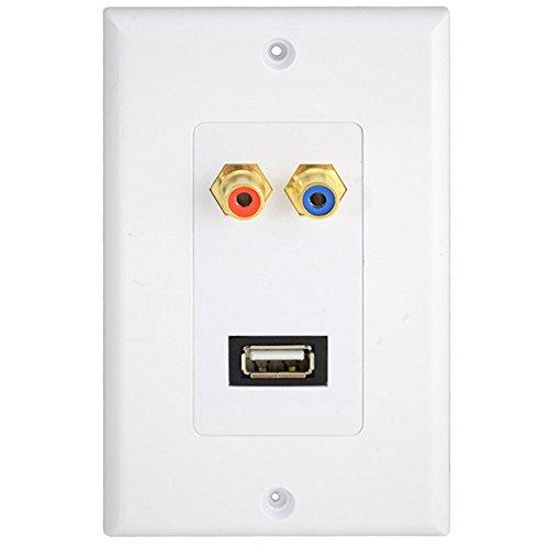 komponent AV-Audio-Video-Wand Frontplatte USB 2RCA Panel wanddose Tafel Netzkabel und Mehrfachsteckleisten Dual Tv Wall Plate