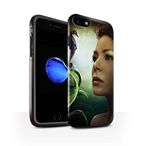 Officiel Elena Dudina Coque / Brillant Robuste Antichoc Etui pour Apple iPhone 7 / Le Crochet Design / Agua de Vida Collection Mer Profonde/Hippocampe