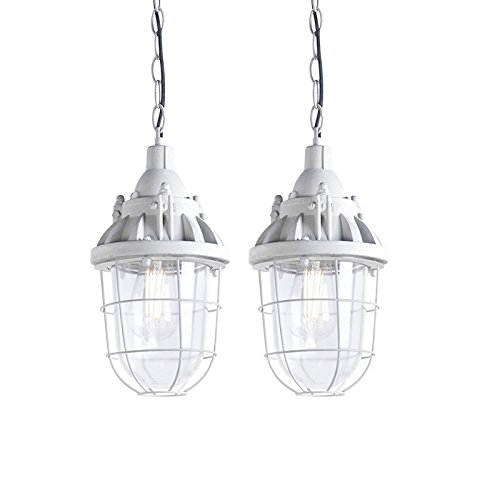 QAZQA Industrie/Industrial 2-flammiger-Set Pendelleuchte/Pendellampe/Hängelampe/Lampe/Leuchten Cabin Beton/Innenbeleuchtung/Wohnzimmer/Schlafzimmer/Küche Stein/Rund LED geeignet E