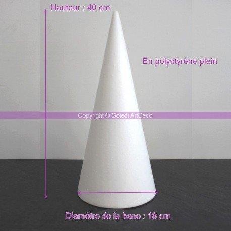 Cone en polystyrène Plein, Hauteur 40cm, Diamètre de base 18cm, Support Styro haute densité Présentoir à macarons
