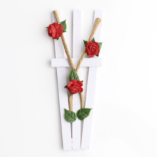 Set of 2 White Wood Painted Garden Trellis' with Trailing Rose Bush by Unknown (White Trellis)