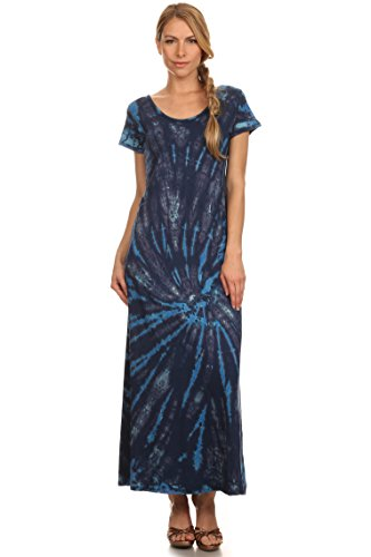 Sakkas Diana Robe à Mancherons Longue Tie Dye Encolure Dégagée Bleu/Turquoise