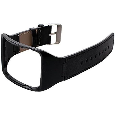 holaca Wristband di ricambio con caricatore per SM-R750, in lega di zinco e pelle e caricatore Dock per Samsung Galaxy Gear S SM-R750, R750 Black Leather Band - Lega Wristband