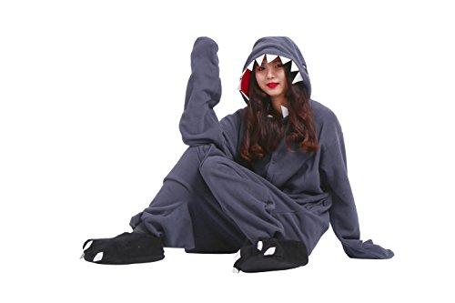 Imagen de yuwell unisex kigurumi pijamas animal cosplay traje disfraz onesie adulto halloween navidad, tiburón negro m height 160 170cm  alternativa