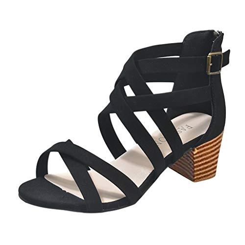 Ausverkauf Frauen Sandalen für Frauen liusdh , damen schuheWomen Ladies Fashion Hollow Out Ankle Strap Sandals Casual Roman Shoes(BK,41) -