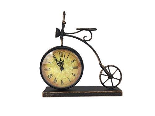 Crispe home & garden Tischuhr Fahrrad Hochrad Kaminuhr aus Metall zum Aufstellen mit Quarzlaufwerk 21 x 21,5 x 8 cm