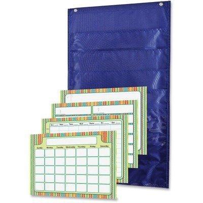 Carson-Dellosa Publishing Pocket Chart, Weekly, 6 Pockets, Polyester, 15w x 27 3/4h, Blue, 1 Kit by Carson-Dellosa