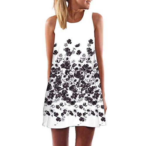 QIMANZI Kleider Damen Sommer Elegante Lose Vintage Sleeveless 3D Blumendruck Bohe Casual Täglichen Party Strand Urlaub Tank Short MiniKleid(A Weiß,De-40/CN-L)