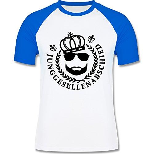 JGA Junggesellenabschied - JGA King Vollbart - zweifarbiges Baseballshirt für Männer Weiß/Royalblau