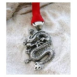 Pewter Chinese Dragon China Christmas Ornament and Holiday Decoration
