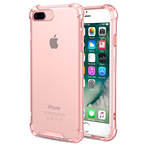 MoKo iPhone 8 Plus / 7 Plus Funda - Anti-Arañazos Híbrido TPU Case de Aire Tecnología Esquinas + Panel Trasero Claro Parachoques Back Cover para iPhone 8 Plus / 7 Plus 5.5 Pulgadas, Rosa Clara