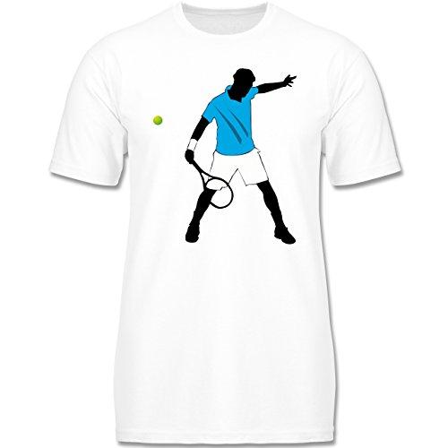 Sport Kind - Tennis Spieler Squash - 152-164 (12-14 Jahre) - Weiß - F140K - Jungen T-Shirt