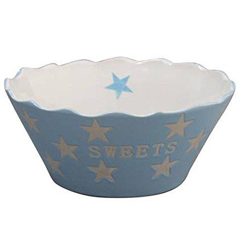 Krasilnikoff - Sweets - Süßigkeitenschale, Snackschale, Knabberschale - mit Sternen - Hellblau - Keramik