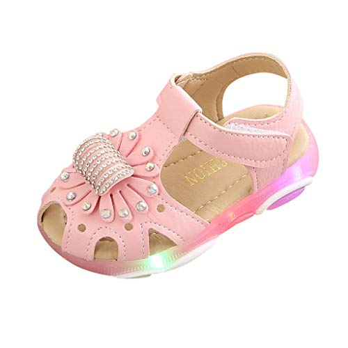 BURFLY Girls Big Children Flower Rhinestones Bright Lights Shoes, Non-Slip Soft Bottom Shoes Outdoor Sandals Sports Shoes Beach Shoes