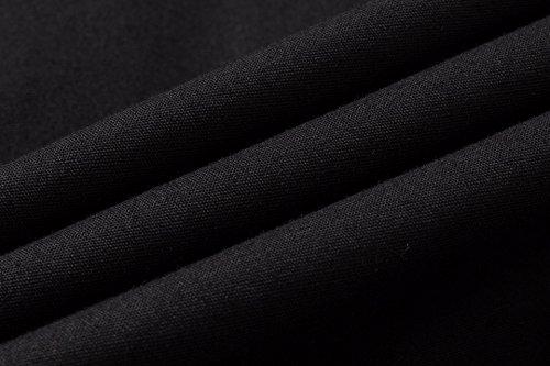 Sportrendy Herren Freizeit Hemden Slim Button Down Long Sleeves Dress Shirts Tops MFN2_JZS041 JZS049_Black