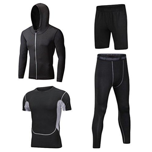 Dooxii Uomo 4 Pezzi Palestra Jogging Completi Sportivi Abbigliamento Giacca con Cappuccio Camicie Compressione Pantaloni Compressione Pantaloncini da