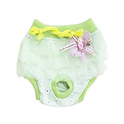 Hunde Cute Bedruckte Gesundheit Physiologie Haustiere Menstruations Physiologische und Hygienische Hosen Puppy Komfortabel Kostüme (Green, L) -