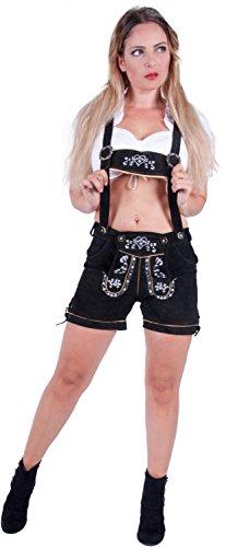 Almwerk Damen Trachten Lederhose kurz Modell Heidi, Größe Damen:XXL - Größe 44;Farbe:Schwarztöne