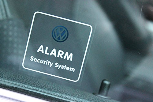 4x VW Security System Aufkleber für Scheiben 50x50 mm | DIEBSTAHL EINBRUCH SCHUTZ DIEBSTAHLSICHERUNG ALARM ALARMANLAGE SECURE ANTI THEFT WARNING STICKER SET VOLKSWAGEN AUTO KFZ PKW LKW BUS T3 T4 T5 T6