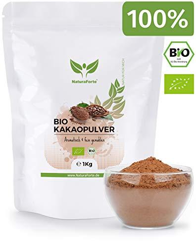 NaturaForte Kakaopulver Bio 1kg - Kakao Pulver, Ohne Zucker, Stark Entölt, 11% Fett, Intensives Aroma aus hochwertigen Kakaobohnen, Zuckerfrei, Vegan, Rein und Glutenfrei