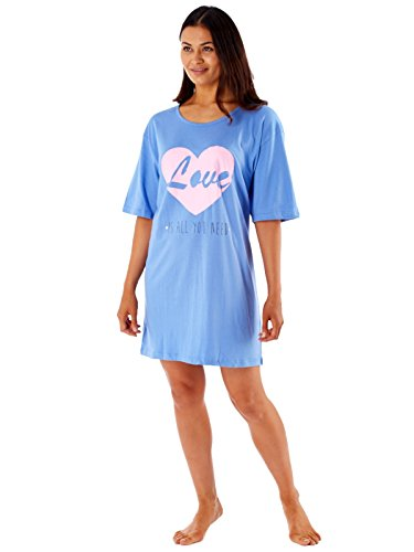 Femmes Robe De Nuit Sommeil T-shirt Femmes Bouffant T Shirt Style Nuisette Pyjama Love - Bleu