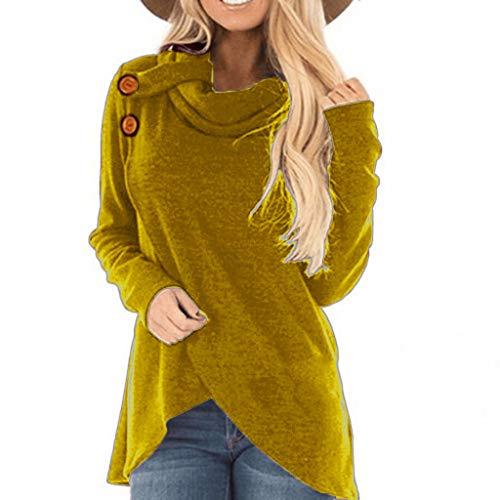 Subfamily Damen Festes Sweatshirt Pullover Oberseiten Blusen Damen Herbst Und Winter-Lange HüLsen-Knopf-UnregelmäßIge Rollkragen-Strickjacke Bekleidung Damen Sale Amazon (XL, Gelb)