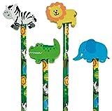 Reegen 4 Bleistifte * SAFARI - WILDE TIERE * mit Radiergummi für Schule und Kindergarten//Stift Zeichnen Schreiben Kind Dschungel