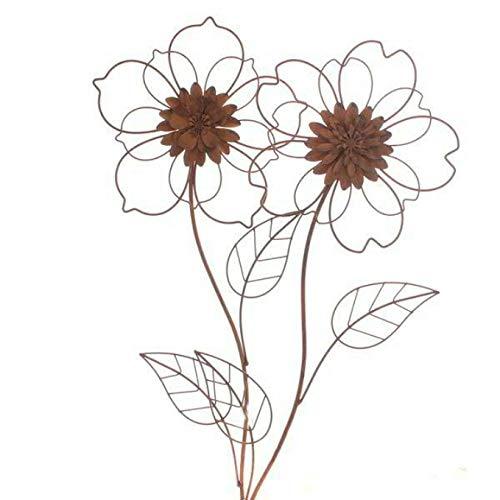 Gartenstecker Gartenfigur Rost Edelrost Metall Blume 58cm Gesamthöhe Wandornament Gartendeko Gartendekoration Garten Gartenfiguren von Trends -