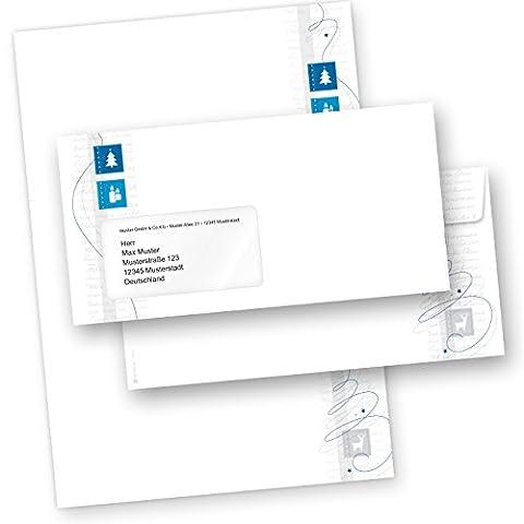 TATMOTIVE 05-0127-0090-00026 Blue Modern Art 25 Sets Briefpapier Weihnachten mit Kuverts - mit Umschläge mit Fenster